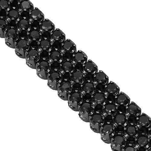 14K Solid Gold Black Rhodium Plated Mens Black Diamond Bracelet 10.50 Ctw