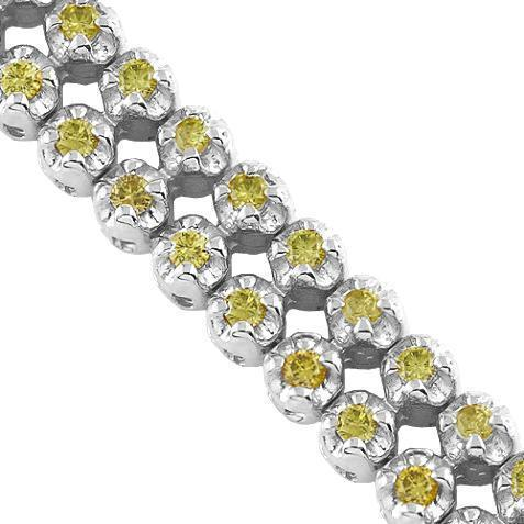 14K Solid Gold Unisex Tennis Bracelet With Yellow Diamonds 3.50 Ctw
