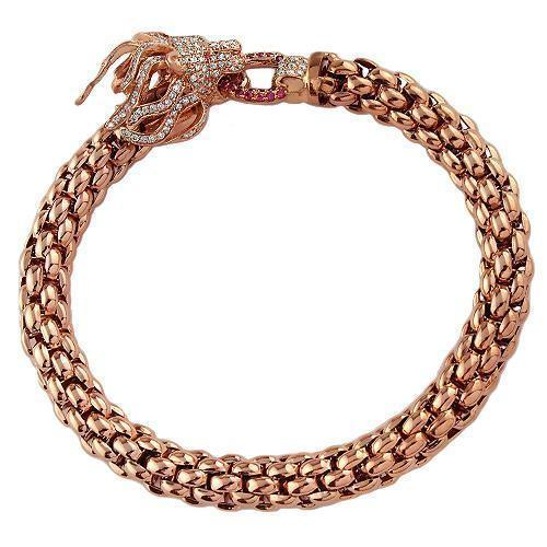 14K Solid Rose Gold Custom Design Diamond Lion Head Ruby Bracelet 2.50 Ctw