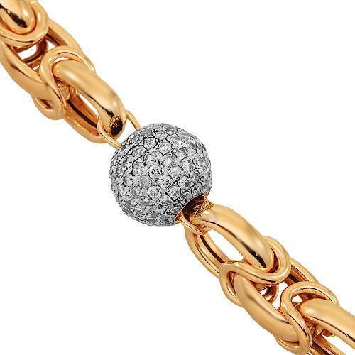 14K Solid Rose Gold Mens Diamond Ball Bead Bracelet With Blue Diamonds 8.75 Ctw
