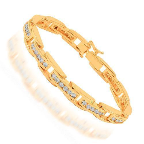 14K Solid Rose Gold Mens Diamond Bracelet 6.00 Ctw