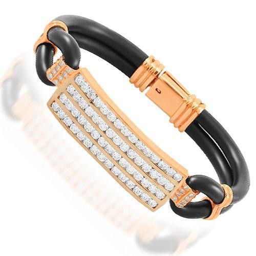 14K Solid Rose Gold Mens Diamond Bracelet 6.50 Ctw