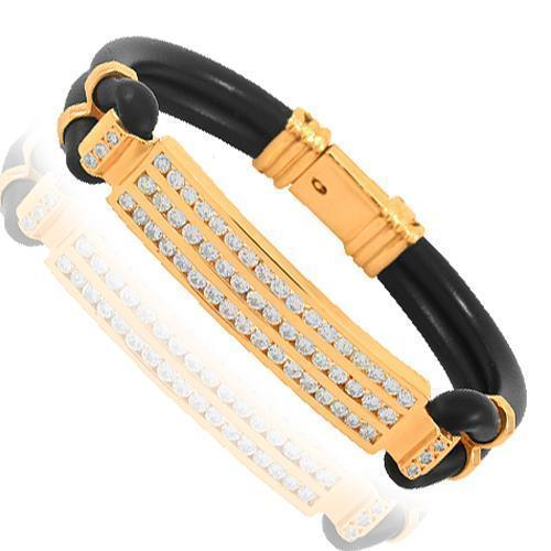 14K Solid Rose Gold Mens Diamond ID Bracelet 3.00 Ctw