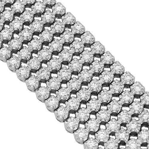 14K Solid White Gold Mens Diamond Bracelet 17.28 Ctw