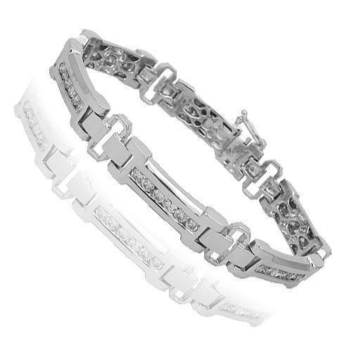 14K Solid White Gold Mens Diamond Bracelet 3.75 Ctw