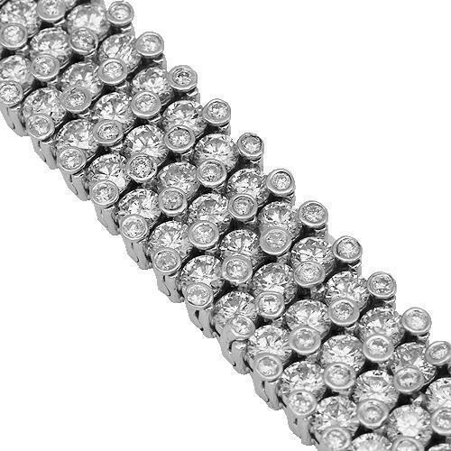 14K Solid White Gold Mens Diamond Bracelet 31.00 Ctw