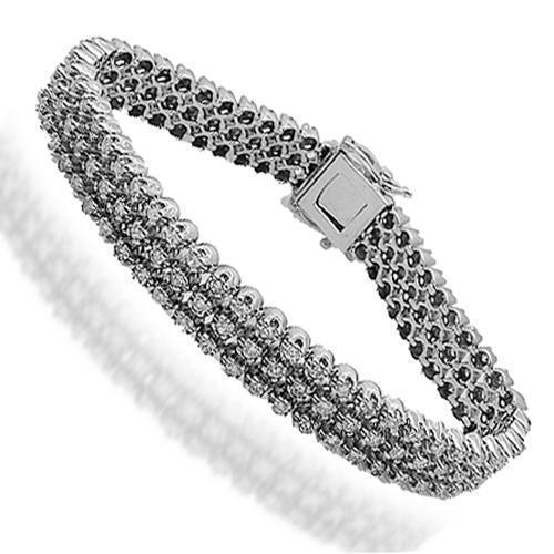 14K Solid White Gold Mens Diamond Bracelet 5.50 Ctw