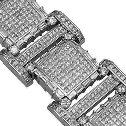 14K Solid White Gold Mens Diamond Bracelet 70.00 Ctw