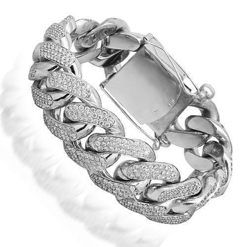 14K Solid White Gold Mens Diamond Custom Cuban Bracelet