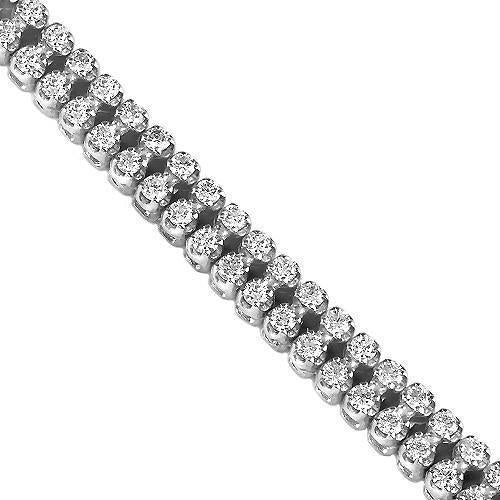 14K Solid White Gold Tow-Row Diamond Bracelet 4.75 Ctw