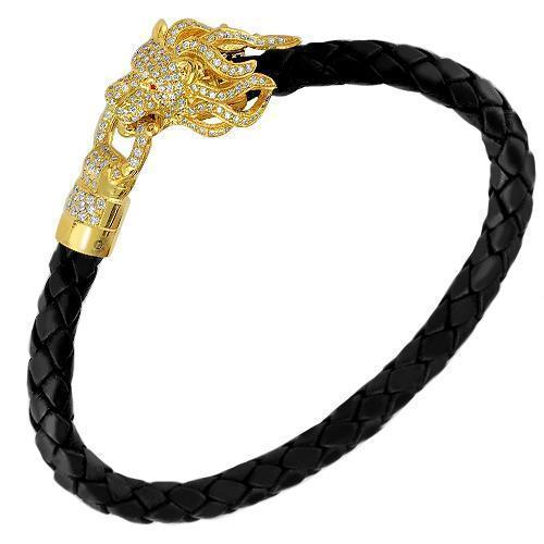14K Solid Yellow Gold Custom Design Diamond Lion Head Rubber Bracelet 2.50 Ctw