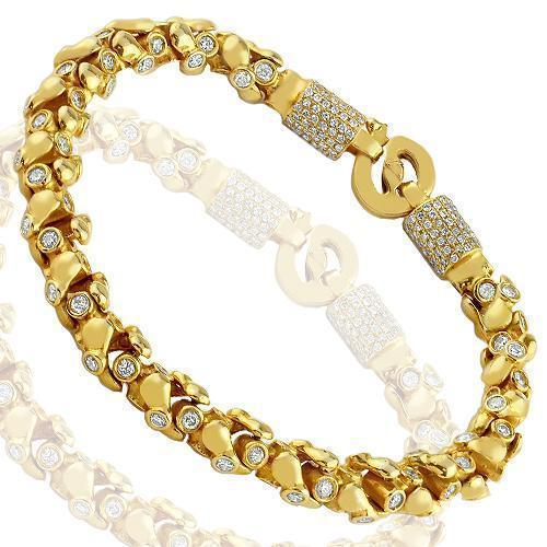 14K Solid Yellow Gold Mens Customized Diamond Bracelet 6.80 Ctw