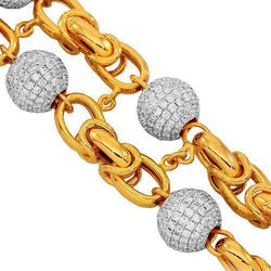 14K Solid Yellow Gold Mens Diamond Ball Bead Bracelet 16.50 Ctw