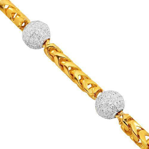 14K Solid Yellow Gold Mens Diamond Ball Bead Bracelet 7.00 Ctw