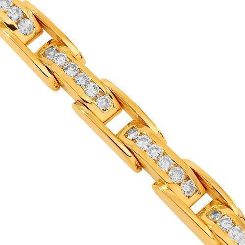14K Solid Yellow Gold Mens Diamond Bracelet 6.00 Ctw