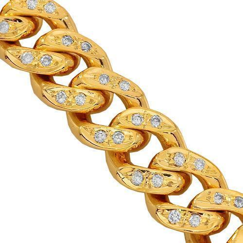 14K Solid Yellow Gold Mens Diamond Cuban Bracelet 5.00 Ctw