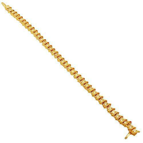 14K Solid Yellow Gold Womens Diamond Tennis Bracelet 4.95 Ctw