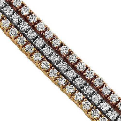 14K Three Tone Solid Gold Three-Row Diamond Bracelet 6.50 Ctw