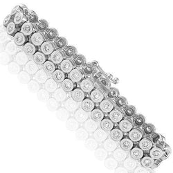 14K White Gold and Bezel Set Diamond Bracelet 8.50 Ctw