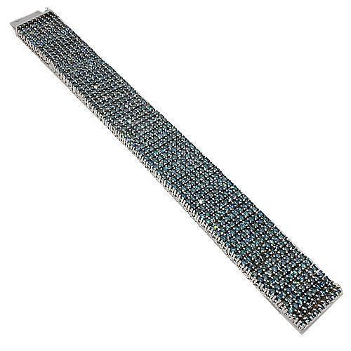 14K White Solid Gold Blue Diamond Mens Bracelet 64.35 Ctw