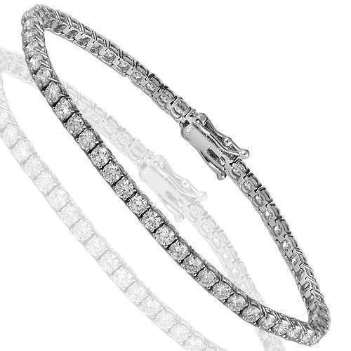 14K White Solid Gold Diamond Tennis Bracelet 5.95 Ctw