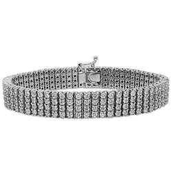 14K White Solid Gold Mens Diamond Bracelet 15.50 Ctw