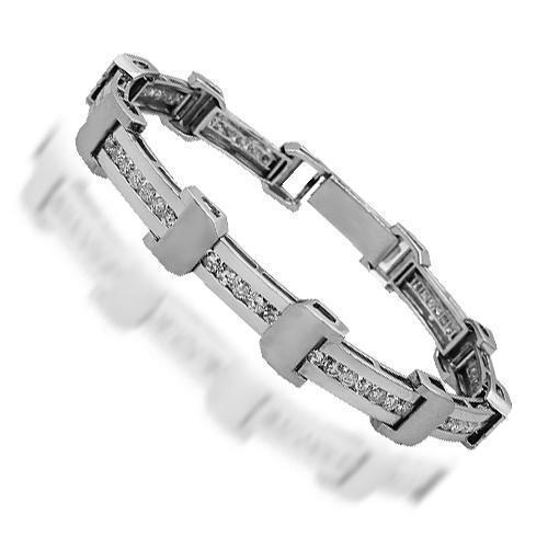 14K White Solid Gold Mens Diamond Bracelet 5.35 Ctw