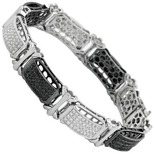 14K White Solid Gold Mens Diamond Bracelet with Black Diamonds 14.00 Ctw
