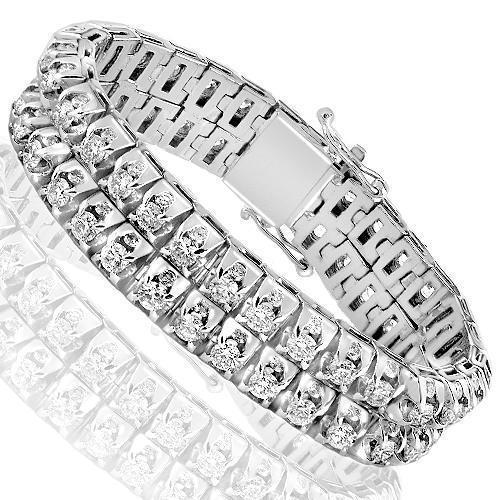 14K White Solid Gold Mens Two Row Diamond Customized Tennis Bracelet With Side Stones 26.60 Ctw
