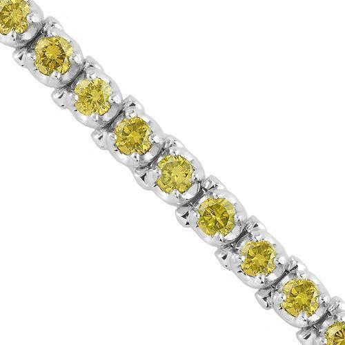 14K White Solid Gold Womens Bracelet With Yellow Diamonds 4.50 Ctw