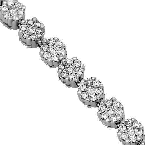 14K White Solid Gold Womens Diamond Bracelet 3.00 Ctw
