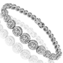 14K White Solid Gold Womens Diamond Bracelet 8.59 Ctw