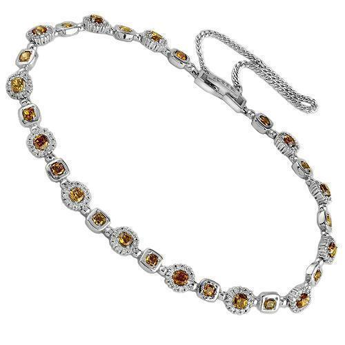 14K White Solid Gold Womens Diamond Bracelet with Orange Yellow Diamonds 3.25 Ctw
