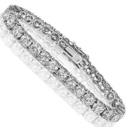 14K White Solid Gold Womens Diamond Tennis Bracelet 23.25 Ctw