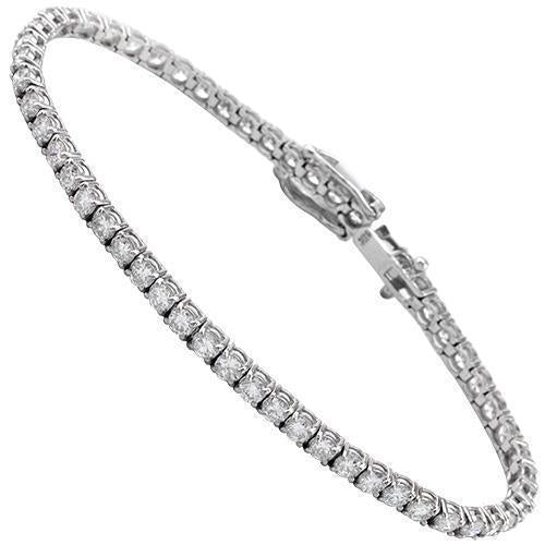 14K White Solid Gold Womens Diamond Tennis Bracelet 4.67 Ctw