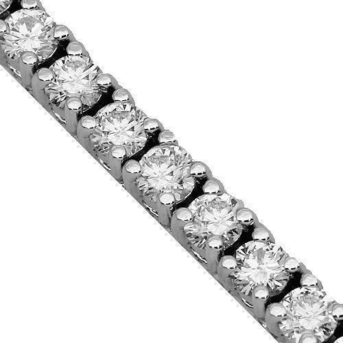 14K White Solid Gold Womens Diamond Tennis Bracelet 4.85 Ctw
