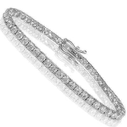 14K White Solid Gold Womens Diamond Tennis Bracelet 8.03Ctw