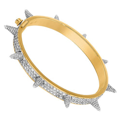 14K Yellow Gold Iced Out Spike Bracelet 8.77 Ctw