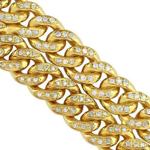 14K Yellow Gold Mens Two-Row Diamond Cuban Bracelet 8.50 Ctw