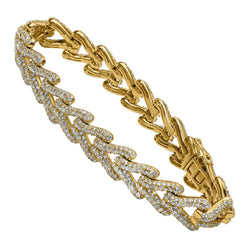 14K Yellow Gold V-Link Diamond Bracelet 14.13 Ctw