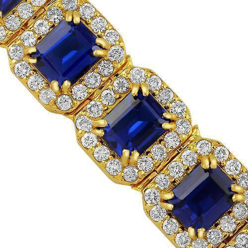 14K Yellow Solid Gold Mens Diamond Blue Sapphire Bracelet 56.00 Ctw