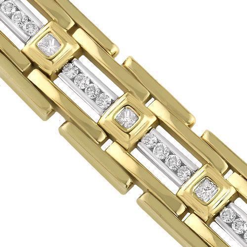 14K Yellow Solid Gold Mens Diamond Bracelet 2.50  Ctw
