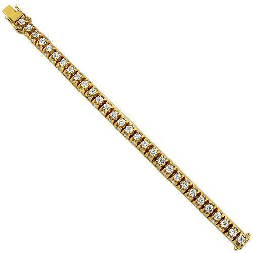 14K Yellow Solid Gold Mens Diamond Customized Tennis Bracelet With Side Stones 15.00 Ctw