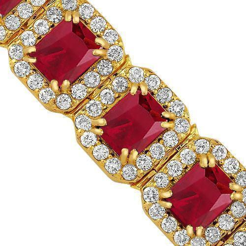 Synthetic Ruby Mens Gold Bracelet Top Quality JewelryFresh