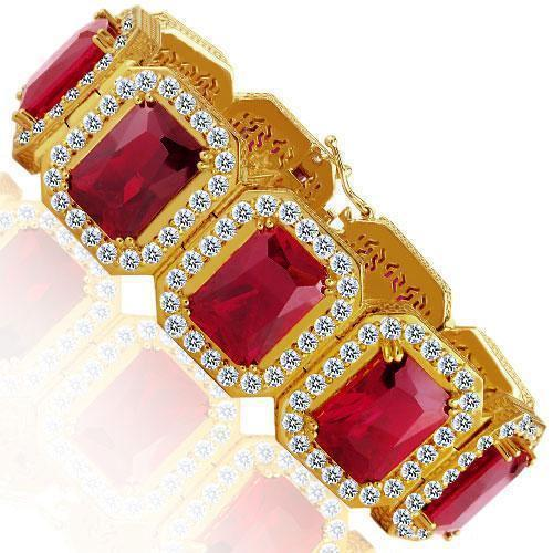 14K Yellow Solid Gold Mens Diamond Ruby Bracelet 121.5 Ctw