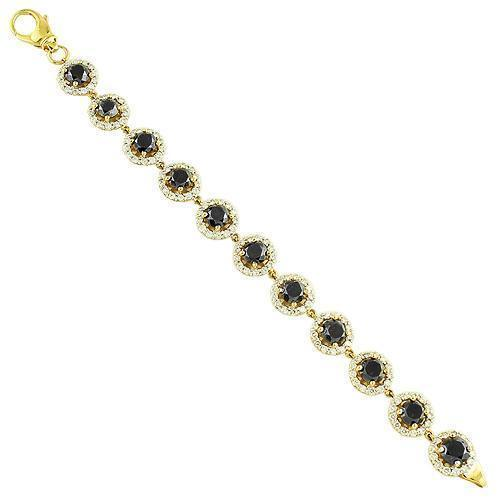 14K Yellow Solid Gold Unisex Diamond Fancy Bracelet With Black Diamonds 4.29 Ctw