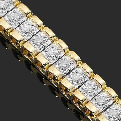 14K Yellow Solid Gold Womens Diamond Bracelet 1.65 Ctw