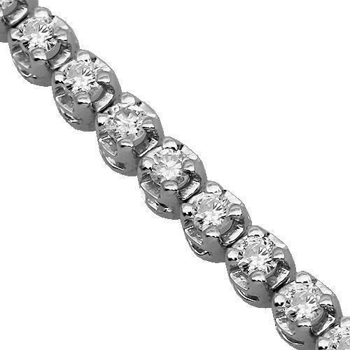 18K White Solid Gold Womens Diamond Tennis Bracelet 1.71 Ctw