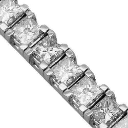 18K White Solid Gold Womens Diamond Tennis Bracelet 6.78 Ctw