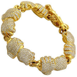 18K Yellow Solid Gold Mens Custom Boxing Glove Bracelet 17.50 Ctw